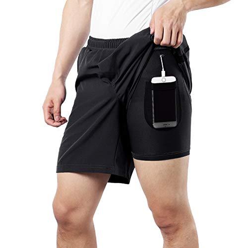 BERGRISAR Herren Lauf-Shorts, 17,8 cm, 2-in-1, mit Handytasche, BG600, Schwarz, Größe XL
