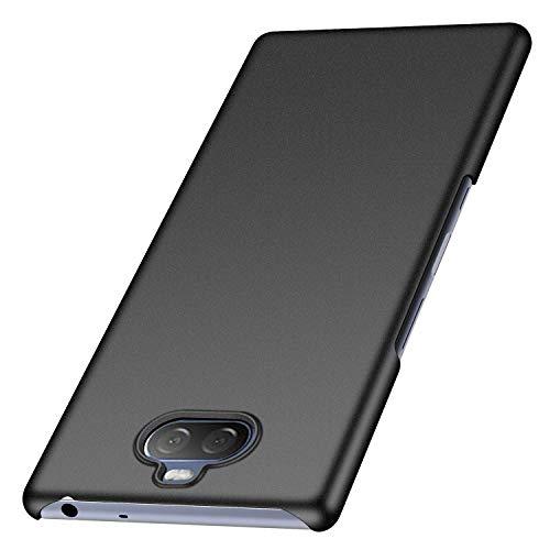 Kqimi Hülle für Sony Xperia 10 Superdünne Leichte Matte Handyhülle Einfache Stoßfeste Kratzfeste Ganzkörper Hülle kompatibel mit Sony Xperia 10 (Kies Schwarz)