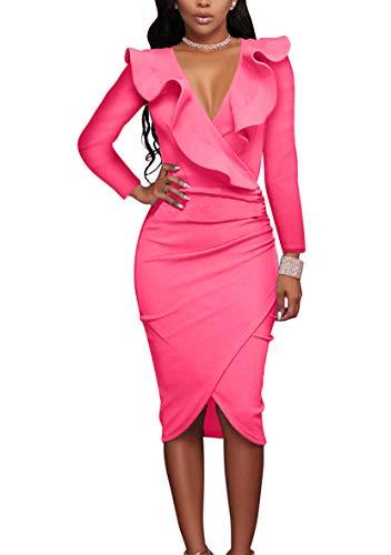 YMING Damen Kleid Langarm Kleid Volant Kleid Bodycon Bleistiftkleid Sexy Partykleid Elegante...