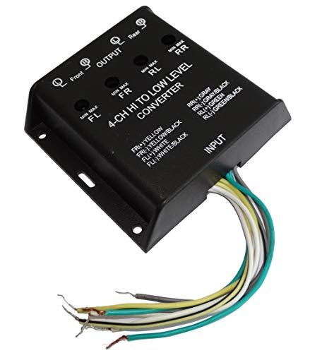 Aerzetix: Adattatore convertitore di livello di segnale, 40 W, per casse autoradio verso amplificatore RCA