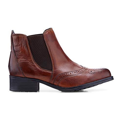 DRIEVHOLT Damen Chelsea-Boots aus Leder, Kurzschaft-Stiefel in Braun mit feiner Lyra-Lochung Braun Leder 40