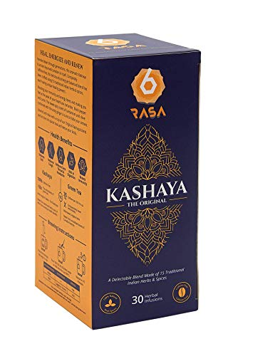 6rasa Kashaya – Herbal Tea | 15 Ayurvedic Spices Like Ashwagandha, Black Pepper, Cardamom, Turmeric | Kadha Mix | Caffeine Free | 100% Natural | No Added Sugar (2.5 g Each, 30 Dip Bags)