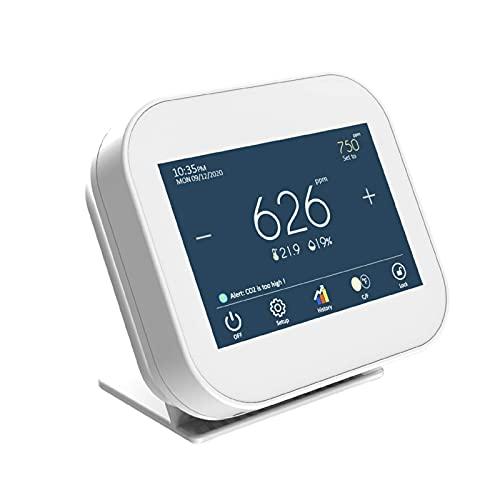 屋内CO2濃度計、CO2測定装置、温度、湿度、および時計機能、大気質モニタ、空気品質モニタ、3.5インチTFTカラー容量式タッチスクリーン、0~9999 ppmの範囲、7日間の過去のデータグラフ。