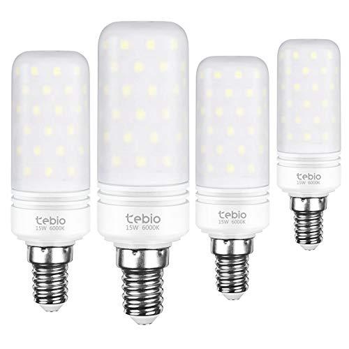 Tebio LED Plata Maíz Bombillas 15W E14 6000K Blanco Frío LED Candelabros bombillas, 120W Bombilla Incandescente Equivalente, 1500LM, LED vela Bombillas No regulables(4 Packs)
