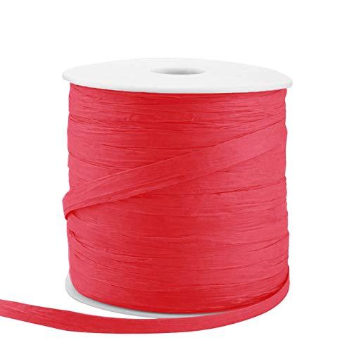 JYuanzshi Bastband, 210 m Papierband, geeignet für Weihnachten, Halloween, Geburtstag, Hochzeit, Party, Geschenkverpackung, Rot