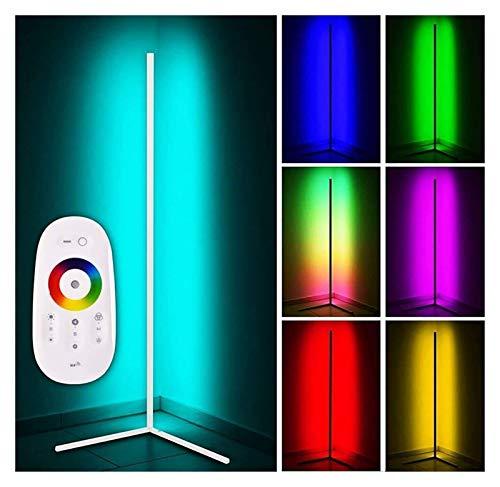 ASY Lámpara De Pie De Esquina Lámparas De Pie con Control Remoto RGB para Sala De Estar Decoración Nórdica Luz De Noche para El Hogar Lámpara De Pie con Atenuación Decoración (Color : White)