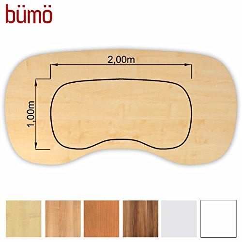 Bümö® stabile Tischplatte 2,5 cm stark - DIY Schreibtischplatte aus Holz | Bürotischplatte belastbar mit 120 kg | Spanholzplatte in vielen Formen & Dekoren| Platte für Büro, Tisch & mehr (Nierenform: 200 x 100 cm, Ahorn)