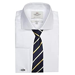 HAWES & CURTIS Mens Herringbone Classic Fit Shirt Windsor Collar Double Cuff