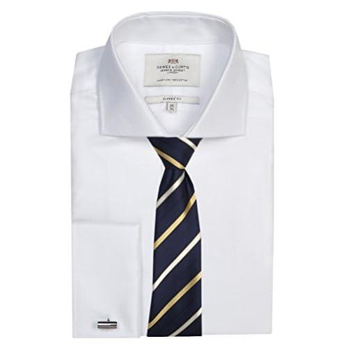 HAWES & CURTIS Mens Herringbone Classic Fit Shirt Windsor Collar Double Cuff