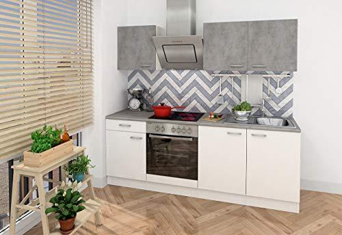 Respekta - Bloque de cocina empotrable para esquina de cocina, 210 cm, color blanco, hormigón óptico, incluye Softclose - Placa de cocción
