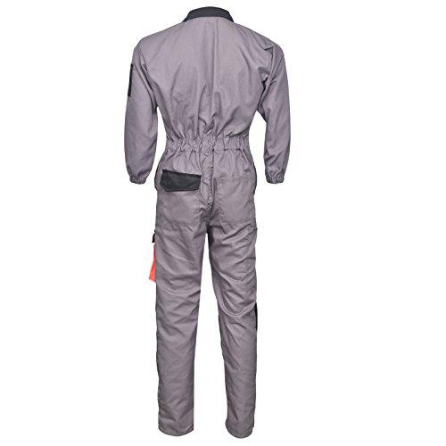 Norman grau/schwarzes Herren Arbeitskleidung Latzhose Monteuranzug Overalls Mechaniker Blaumann – Grau/Schwarz, X-Large - 2