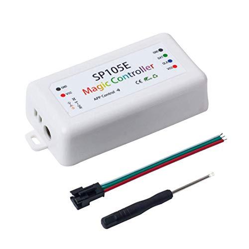 Preisvergleich Produktbild BKAUK SP105E Drahtloser -Controller PP WS2811 WS2812B WS2801 SK6812 PA102 Individuell dressierbare,  Programmierbare LED-Streifen-Pixelmodul DC5V-24V für IOS / ndroid