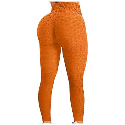 CXDS Damen-Leggings mit hoher Taille, Wabenmuster, Stretch, Yoga, Push Up, Po Lift, Bauchkontrolle, Fitness, Laufen, Fitnessstudio, Sport, 2 Stück XL Orange 7