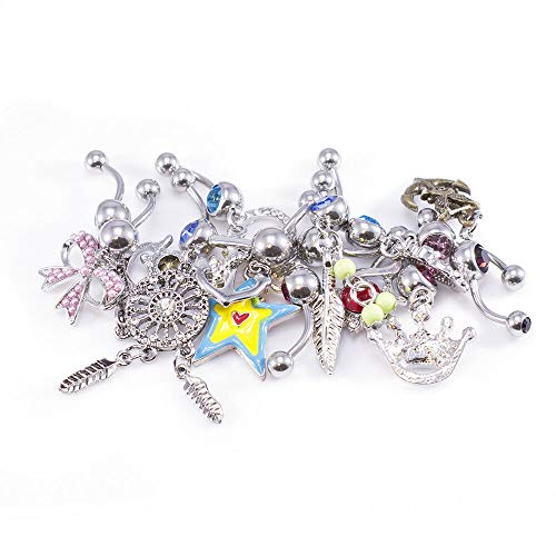"""12pc Belly Rings Surgical Steel 3/8"""" Length Butterflies Flowers Jewels Mix Randomly"""