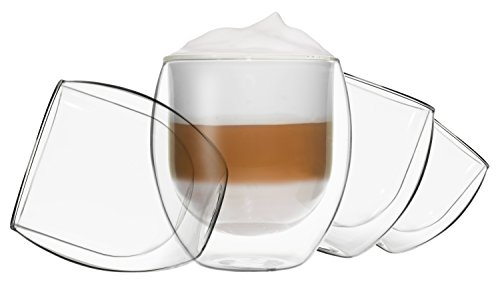 DUOS 4X 410ml Jumbo doppelwandige Thermo Gläser mit Schwebe-Effekt,Cocktails