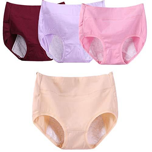 Q&M vrouw eenvoudig te reinigen broekje katoen incontinentie bescherming ondergoed 4-packs
