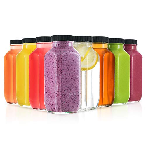 8 Ounce Glass Drink Bottles, Pack of 12 Glass Water Bottles with...