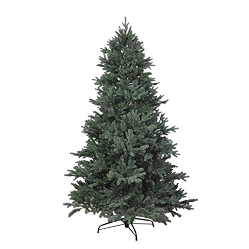 RS Trade 1418 PE Spritzguss Weihnachtsbaum künstlich 240 cm (Ø ca. 147 cm mit ca. 6980 Spitzen, schwer entflammbarer Tannenbaum mit Schnellaufbau Klappsysem, inkl. Metall Christbaum Ständer