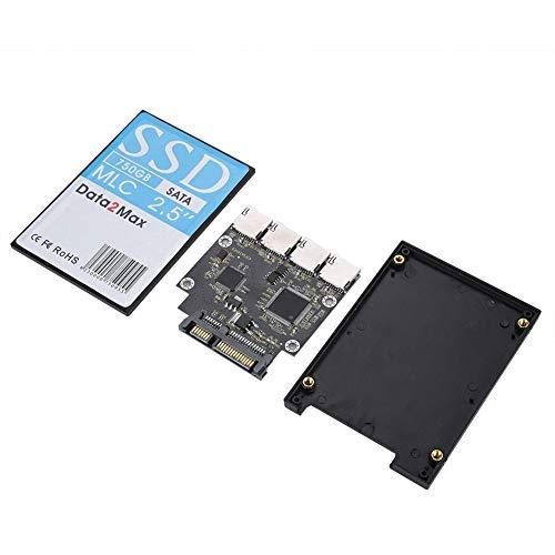 Diyeeni 4-Port SD naar SATA adapter, 4X Micro SD/TF geheugenkaart naar SATA adapter, SD-geheugenkaart SATA HDD/SSD, SD/TF naar SATA elektronische harde schijf