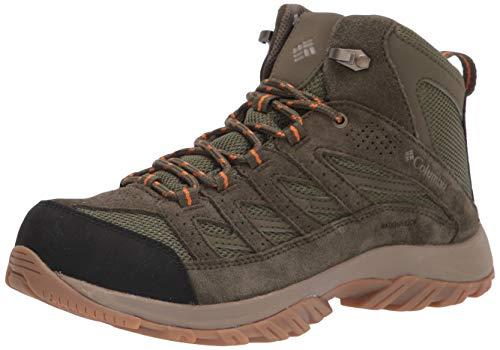 Columbia Men's Crestwood Mid Waterproof Hiking Boot Shoe, Hiker Green/Light Orange, 14 Wide
