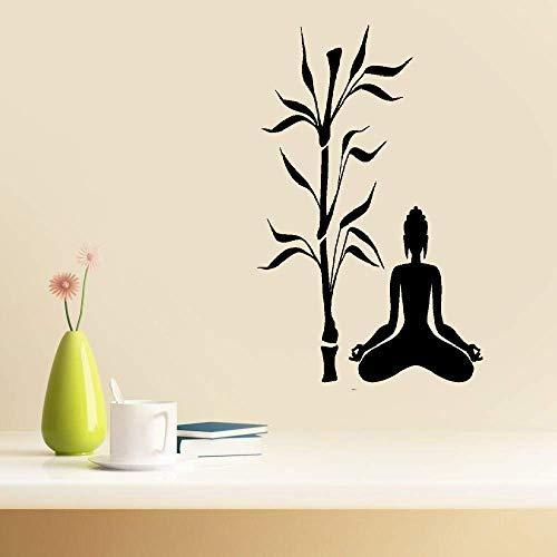 Calcomanías de vinilo para pared, citas y refranes palabras decoración de arte letras vinilo arte pared arte Buda y bambú árbol yoga estudio budismo meditación relax