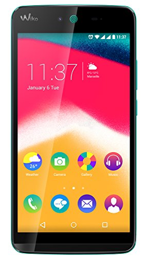 Wiko 9531 Rainbow Jam Smartphone (12,4 cm (5 inch) HD IPS-display, 1,3 GHz quad-core processor), 16 GB, turquoise