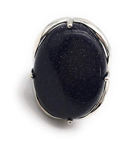 Natural Stone Rose Quartz Agate Amethyst Turquoise Adjustable Finger Rings Semi Precious Oval Shaped Gemstone Anniversary (Blue Sandstone)