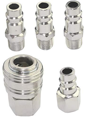 AERZETIX - Juego de 5 Puntas/racores 1/4'' de 33 a 42mm neumáticos rápidos para manguera de aire comprimido - conector/adaptador para compresor - C47768