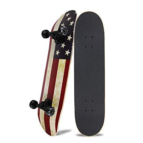 NPET スケートボード 31インチ スケボー スケボー初心者に向き 大人/若者/子供用 子供へプレゼントなどに【ABEC11製ベアリング 95Aウィール採用】 (アメリカ国旗柄)