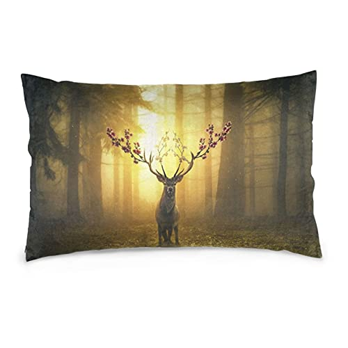 Funda de almohada decorativa surreal de Deer Forest 40,6 x 60,9 cm, funda de cojín para decoración del hogar