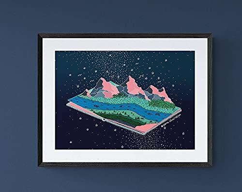 MG global Montaña en el universo ilustración imprimible arte para la decoración del hogar bohemio, arte espiritual descarga digital sin marco arte de la pared