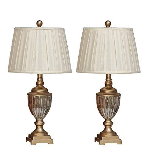 U'Artlines 2er Set Kristall Antike Messing Tischlampe Nachttischlampe Schreibtischlampe mit Leinen Schatten Moderne Metall für Wohnzimmer Schlafzimmer(Gold)