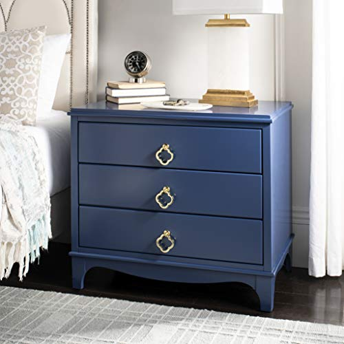 Safavieh Home Collection Hannon Navy 3 Drawer Contemporary Nightstand End Table, Brass
