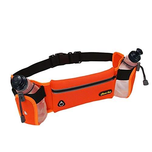 QSCTYG Correr Botella Cinturón con 2 Agua Reflectante Cinturón Hombres Mujeres Paquete de la Cintura del Deporte al Aire multifunción Correr Bolsas riñonera Deportiva (Color : Orange)