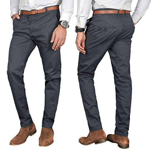 A. Salvarini Herren Designer Business Chino Hose Chinohose Regular Fit AS-095 [AS-095 - Anthrazit - W36 L30]