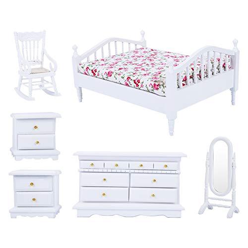 Mini-Möbel für Puppenhaus, Bett-Set für Puppenhaus, Miniatur-Möbel für Puppenhaus, Doppelbett, hervorragender Mini-Schrank aus Holz für Zuhause