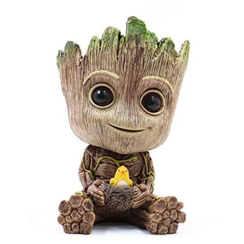 FFBF Baby Groot Maceta PortaláPices, Maceta De Dibujos Animados con Figuras De Hombre, Groot con Nido De PáJaro Maceta Suculenta Maceta Verde para DecoracióN De Escritorio De Oficina En Casa