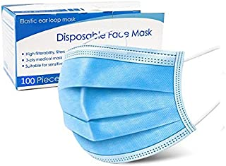 Bildos 3 Ply disposable face mask with Nose pin and Utrasonic welded ear loop Premium Quality Surgical mask (100)