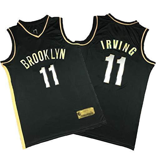 YPKL Kyrie Irving Jersey, 2021 Nueva temporada Brooklyn Nets 11 # Black Gold Edition camisetas de baloncesto, camiseta clásica retro de baloncesto (S-XXL) M