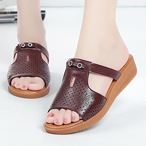 Kirin-1 Zapatillas De Casa para Mujer Verano,Zapatillas De Novia,Zapatos De Cuero para...