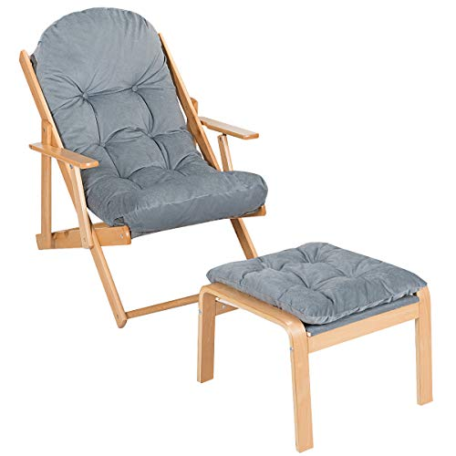 CASART. Wooden Deck Chair with Ottoman Footrest, Foldable Lounge Chair Adjustable Reclining Chairs for Living Room, Bedroom and Office