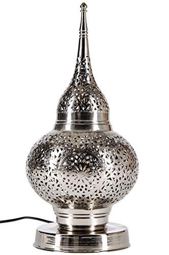 Orientalische Messing Tischlampe Lampe Hayati 45cm in Silber | Marokkanische Tischlampen klein Lampenschirm silberfarben | kleine Nachttischlampe modern für Vintage Retro & Landhaus Stil Design
