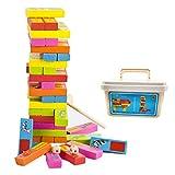 Hifinger バランスゲーム おもちゃ 54PCS 木製 立体パズル 積み木 ブロック ドミノ モンテッソーリ おもちゃ 英語を学ぶ パーティー テーブルゲーム