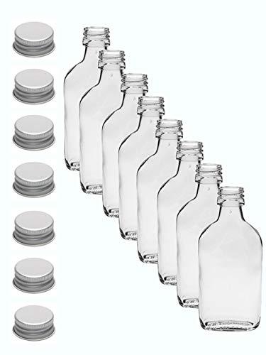 12er Set Taschenflasche 200 ml I Silberne Schraubdeckel I XL-Flachmann I Likörflasche I Schnapsflasche I Fläschchen für Alkohol I Spirituosen, Essig & Öl