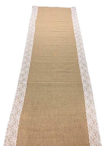 AAYU Wedding Aisle Runner Burlap 40 inch x 30 ft with 5 inches Ivory lace   Natural for Decoration Eco-Friendly Jute Product Rustic/Farmhouse Home Weddings Decor