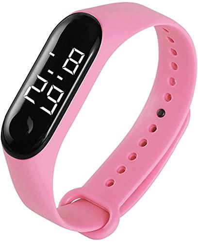 XINGDONG Ocio Impermeable Personalizado LED Pulsera Reloj Electrónico Todo Match Silicone Watch Durable (Color : Pink)