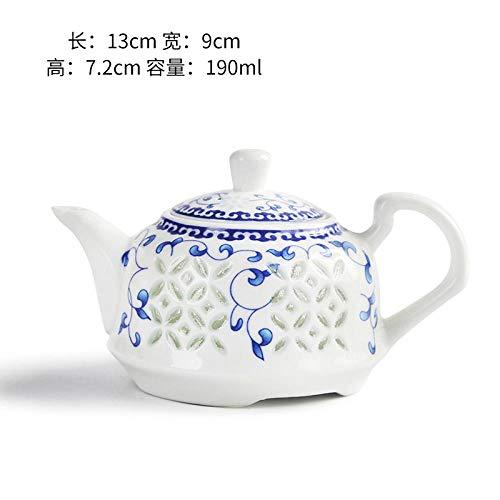 YDLX Tetera de cerámica Tetera de cerámica, Juego de té, Porcelana Azul y Blanca Kung Fu, Varios Estilos, Tetera Individual de Porcelana Blanca