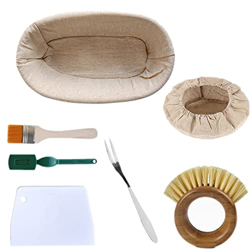Gärkörbchen Oval, ø 28 cm Banneton Proof Korb für Brot und Teig Backen Pinsel, Einlage und Brotgabel.Teigspachtel Brot-Lahme besen inklusiv (ovale)