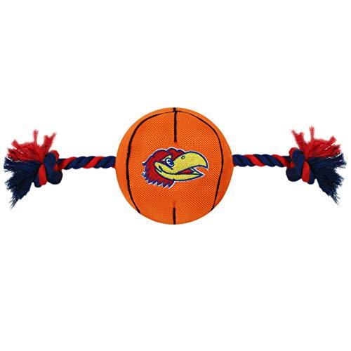 Pets First NCAA Kansas Jayhawks Nylon Basketball Dog Toy with Tough Ropes & Squeaker, one Size (KU-3105)