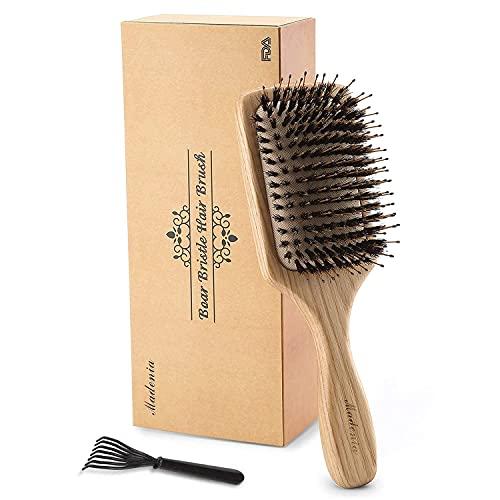 Cepillo de pelo de madera con cerdas de jabalí [Aprobado por la FDA] para con cabello fino, grueso, ondulado, rizado. Masaje no estático del cuero cabelludo Detangling Paddle Design Hairbrush.